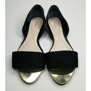 Alfani Black & Gold Flats Slip On Shoes Size 10M